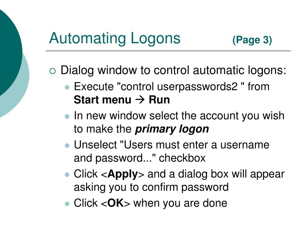 Automating Logons