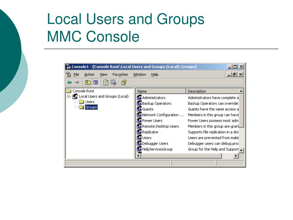 Local Users and Groups MMC Console