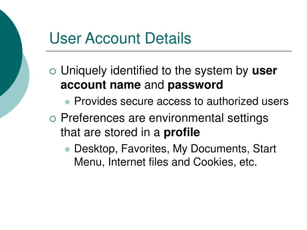 User Account Details