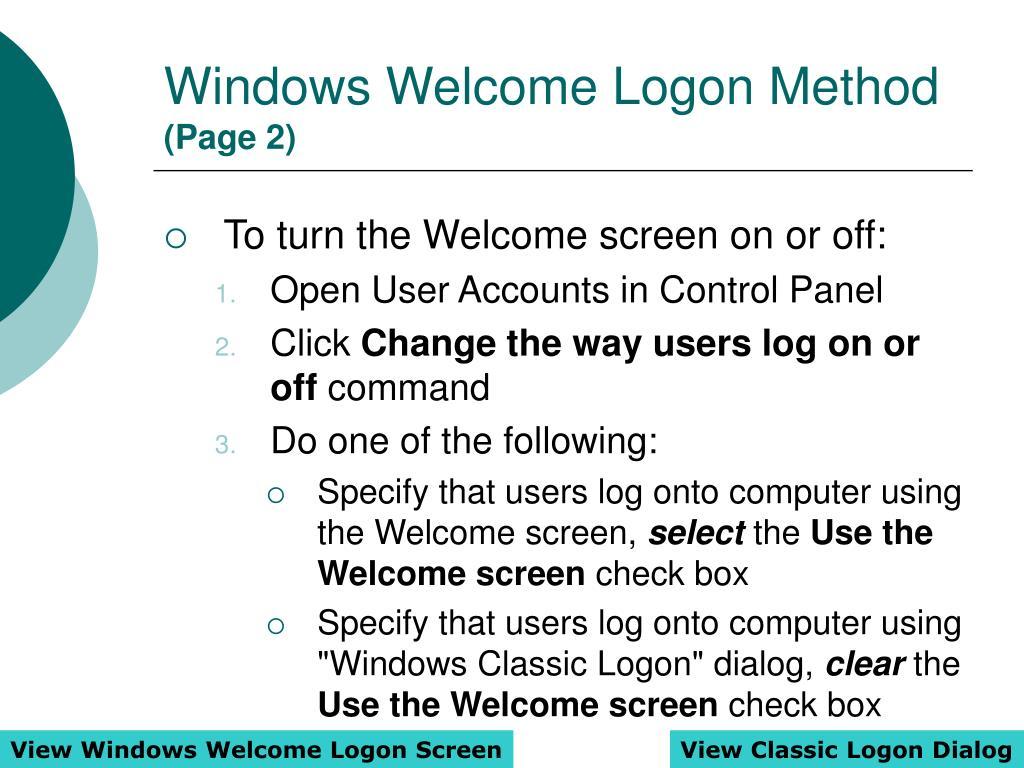 Windows Welcome Logon Method