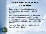 grant reimbursement timetable