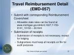 travel reimbursement detail emd 057
