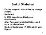 end of shabatsai