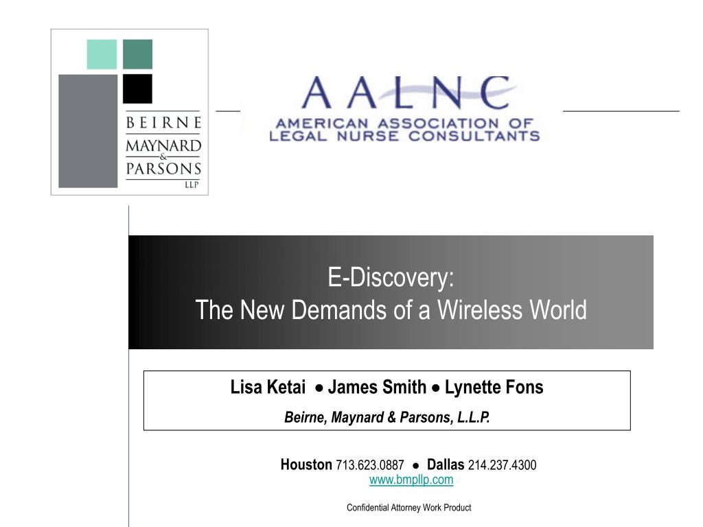 e discovery the new demands of a wireless world l.