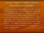 ahrons study of adult children from divorced families