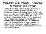 paradigm 3b history analogue to machiavelli s prince