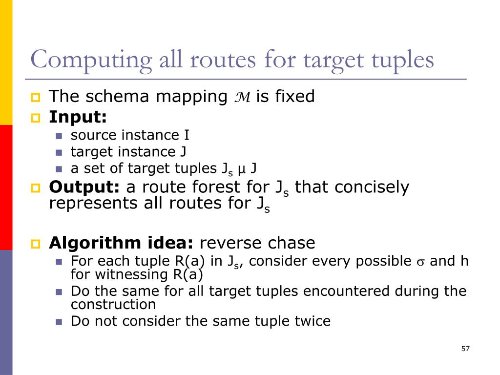 Computing all routes for target tuples