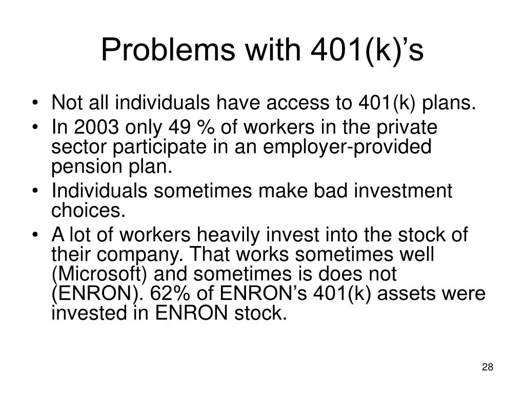 Problems with 401(k)'s