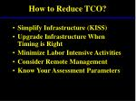 how to reduce tco