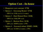 option cost in house