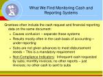 what we find monitoring cash and reporting systems
