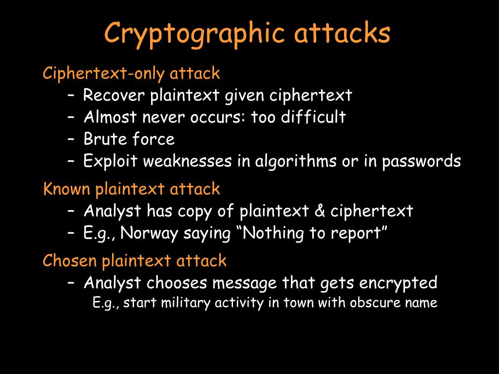 Cryptographic attacks