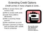 extending credit options credit comes in many shapes sizes