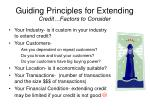 guiding principles for extending credit factors to consider