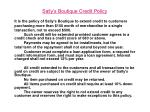 sally s boutique credit policy