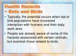 health hazards bats and birds