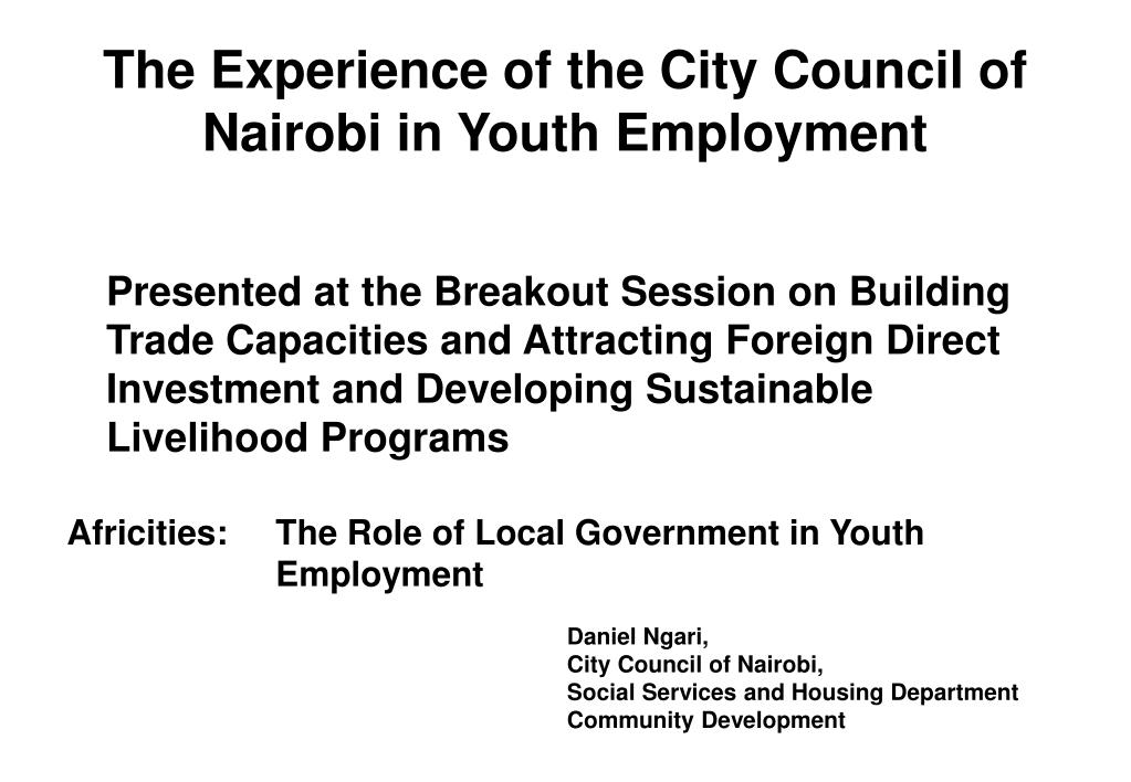 the experience of the city council of nairobi in youth employment l.