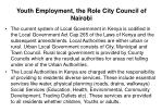 youth employment the role city council of nairobi