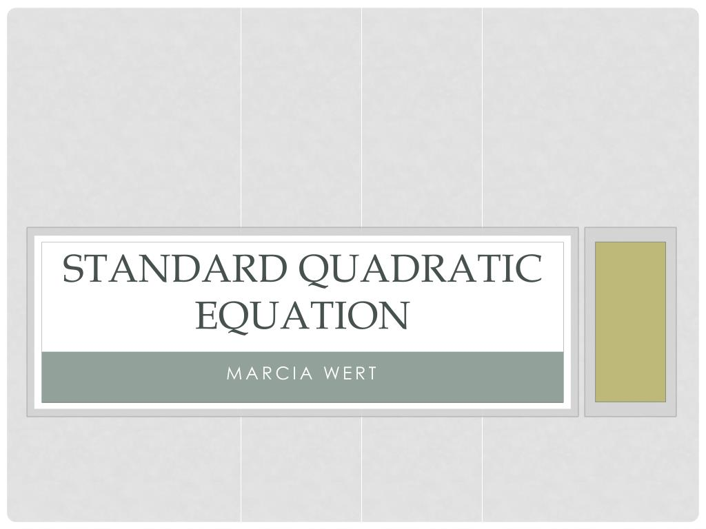standard quadratic equation l.