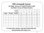i o crossed array an inner array of control factors and an outer array of noise factors