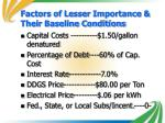 factors of lesser importance their baseline conditions