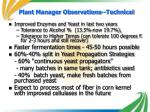 plant manager observations technical