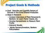 project goals methods