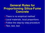 general rules for proportioning silica fume concrete