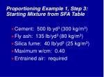 proportioning example 1 step 3 starting mixture from sfa table