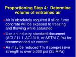 proportioning step 4 determine volume of entrained air