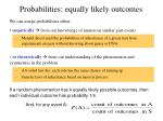 probabilities equally likely outcomes