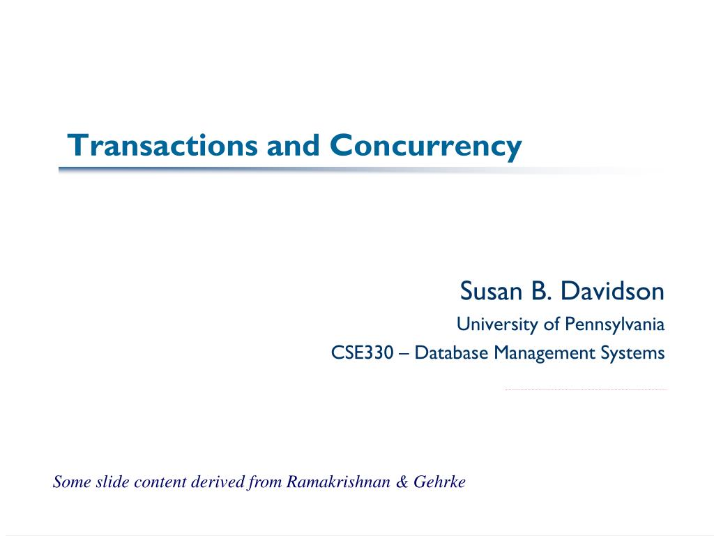 transactions and concurrency l.