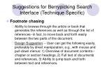suggestions for berrypicking search interface technique specific