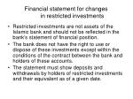 financial statement for changes in restricted investments