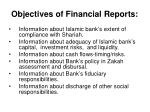 objectives of financial reports
