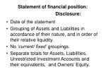 statement of financial position disclosure