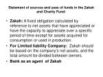 statement of sources and uses of funds in the zakah and charity fund