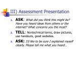 iii assessment presentation
