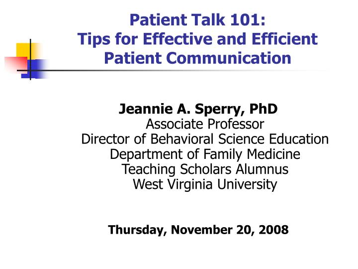 patient talk 101 tips for effective and efficient patient communication n.