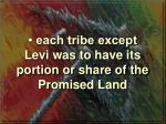 each tribe except levi was to have its portion or share of the promised land
