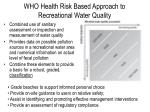 who health risk based approach to recreational water quality