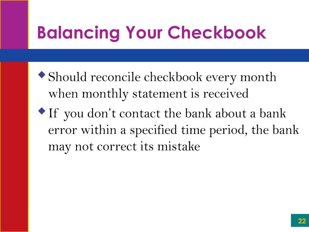 Balancing Your Checkbook