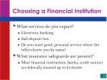 choosing a financial institution10