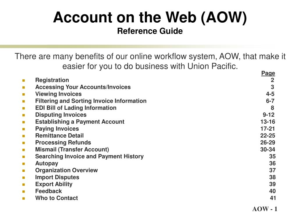 account on the web aow reference guide l.