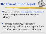 the form of citation signals