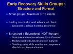 early recovery skills groups structure and format