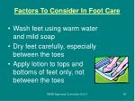 factors to consider in foot care