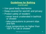 guidelines for bathing continued