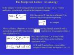the reciprocal lattice an analogy