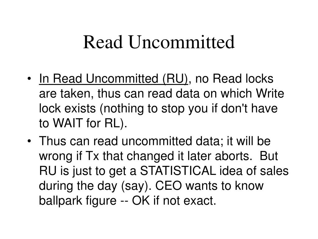 Read Uncommitted